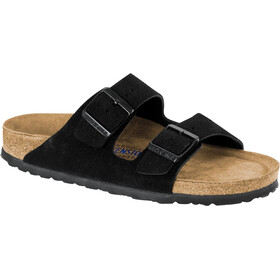 Birkenstock Arizona Soft Footbed Sandals Suede Leather Narrow Women, black